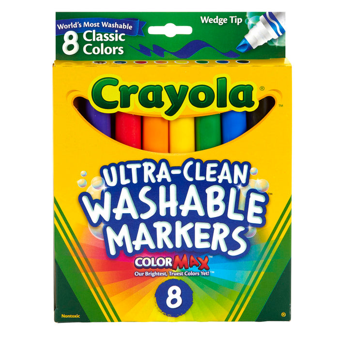 Wedge Tip 8 Ct Washable Markers - Supplies by Teachers
