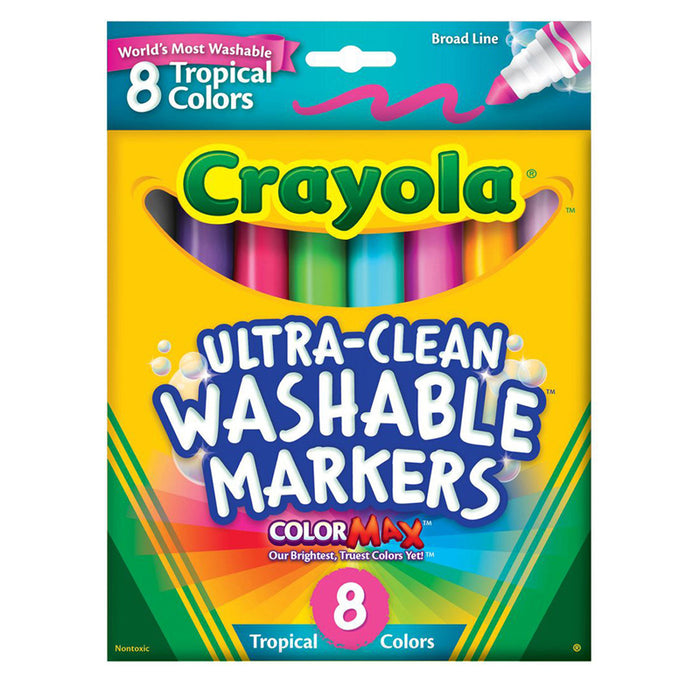 Washable Markers 8 Pk Tropical Colors Conical Tip - Supplies by Teachers