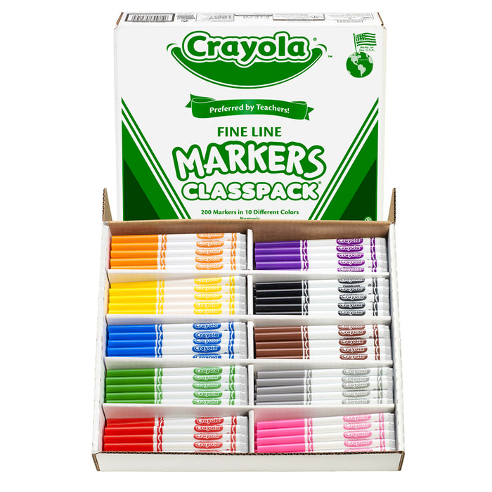 Crayola Classpack Markers 200 Ct Non Washable Fine Tip - Supplies by Teachers