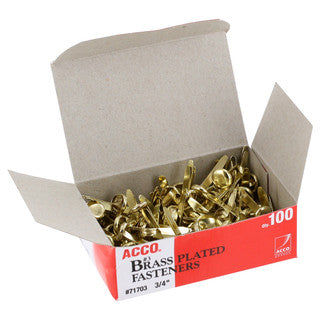 Brass Fasteners 1 inch, 100 box
