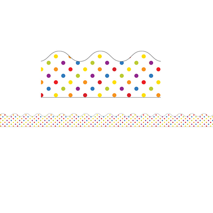 Super Power Rainbow Dots Scalloped Borders