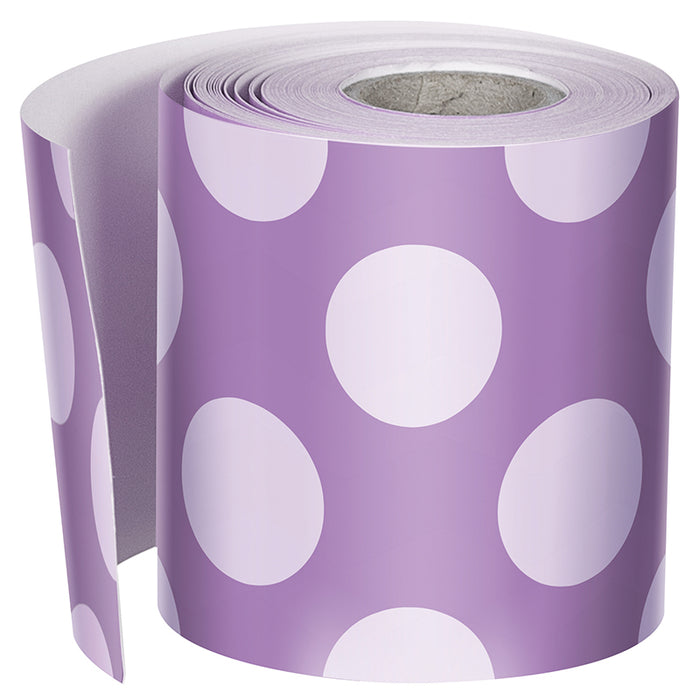 Purple W Polka Dots Str Borders School Girl Style