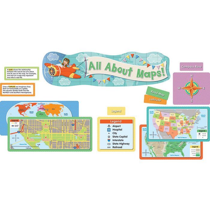 All About Maps Mini Bulletin Board Set - Supplies by Teachers