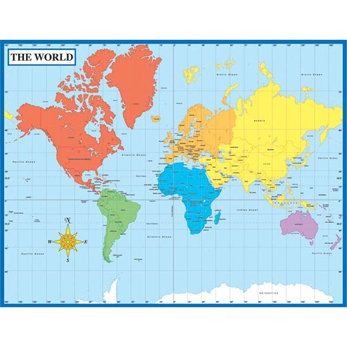 Map Of The World Laminated Chartlet 17x22 - Supplies by Teachers