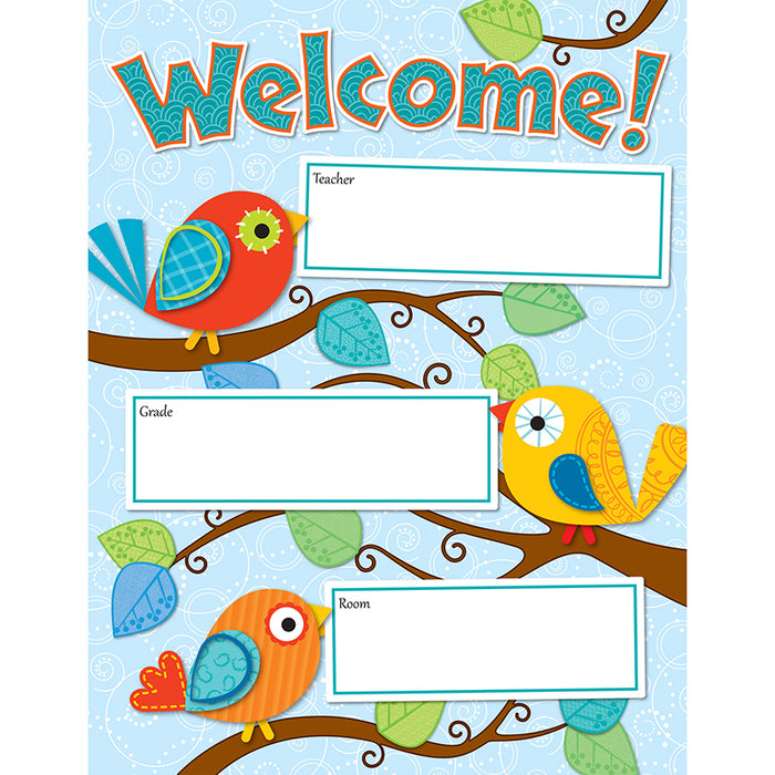 Boho Birds Welcome Chart - Supplies by Teachers