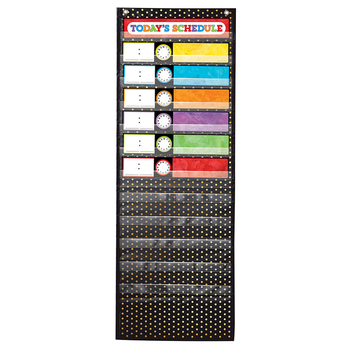 Scheduling Pocket Chart Gold Polka Dot Deluxe