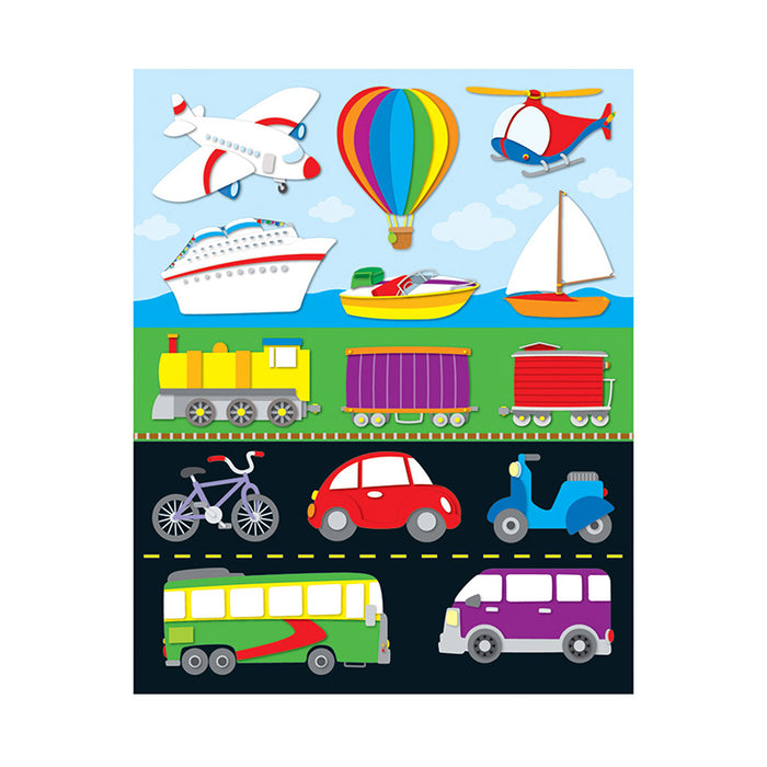 TRANSPORTATION SHAPE STICKERS 84PK