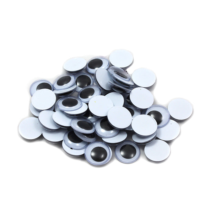 Wiggle Eyes Round 15mm Black 50ct - Supplies by Teachers