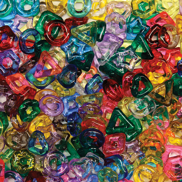 Stringing Ring Beads 220pc Assorted Shapes & Colors - Supplies by Teachers