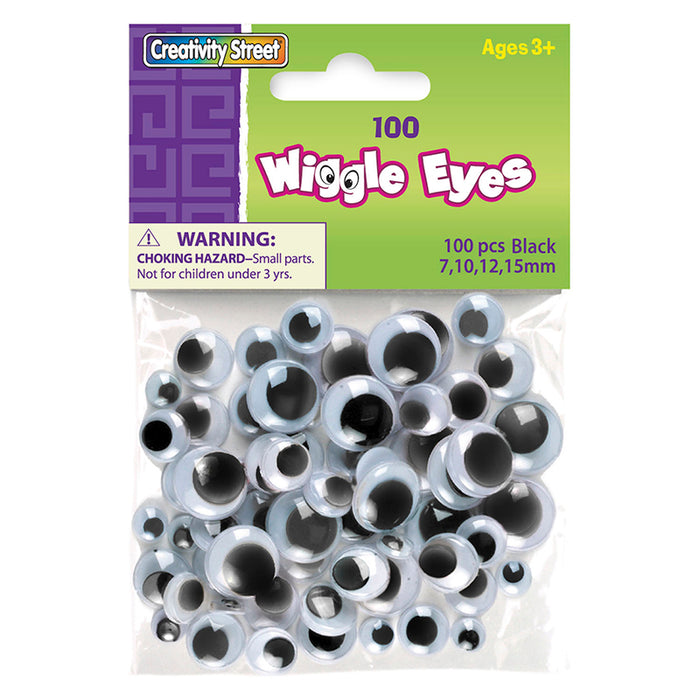 Wiggle Eyes Asst Size 100 Black - Supplies by Teachers
