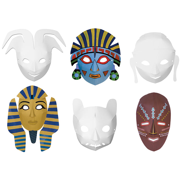 Multi Cultural Dimensional Masks 24pk - Supplies by Teachers