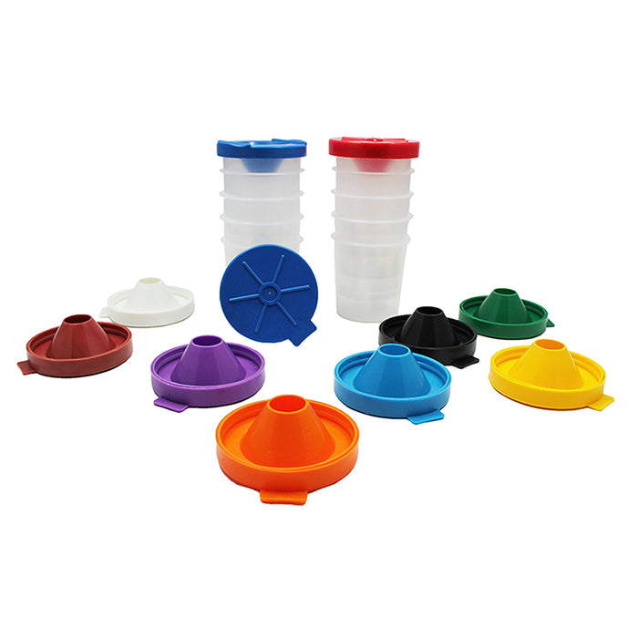 No Spill Paint Cups 10/Pk Dual Lid Storage Cups - Supplies by Teachers
