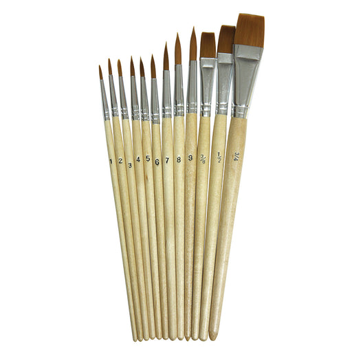 Watercolor Brushes 12pk Assorted Sizes - Supplies by Teachers