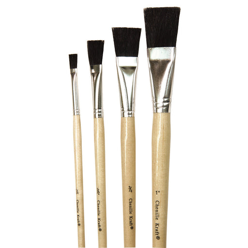 Black Bristle Easel Brush 1 Each 1/4 1/2 3/4 And 1 Inch Wide Brush - Supplies by Teachers