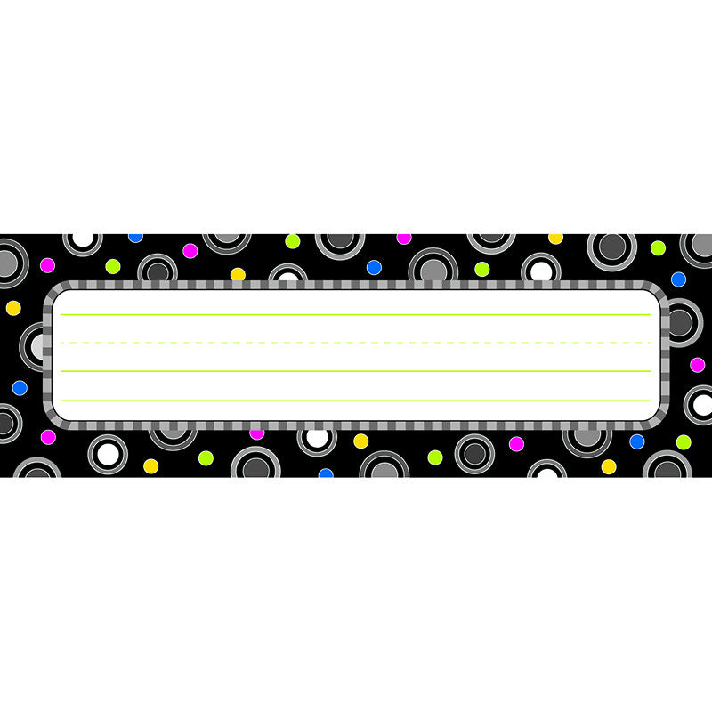Polka Dot Party Black And White Name Plates