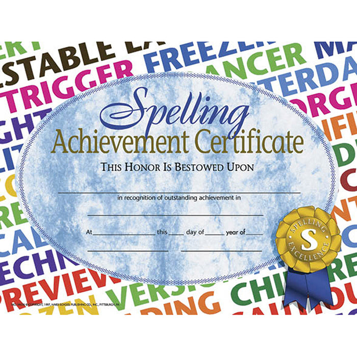 Spelling Achievement 30/Pk 8.5x11 Certificates