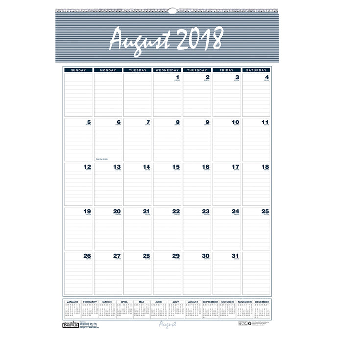Wall Calendar 12 Months Aug-Jul