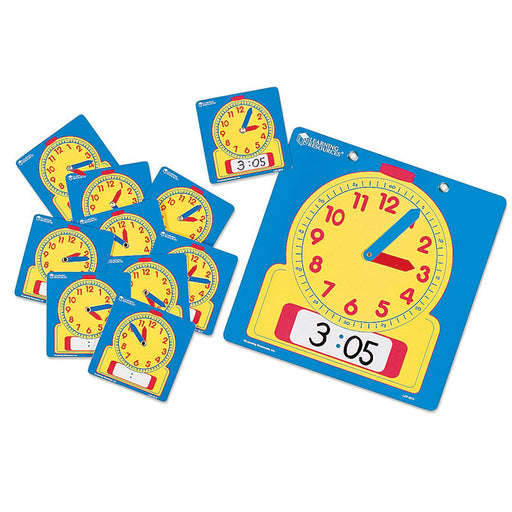 Write-On/Wipe-Off Clocks 10/Pk Student 4-1/2 Square