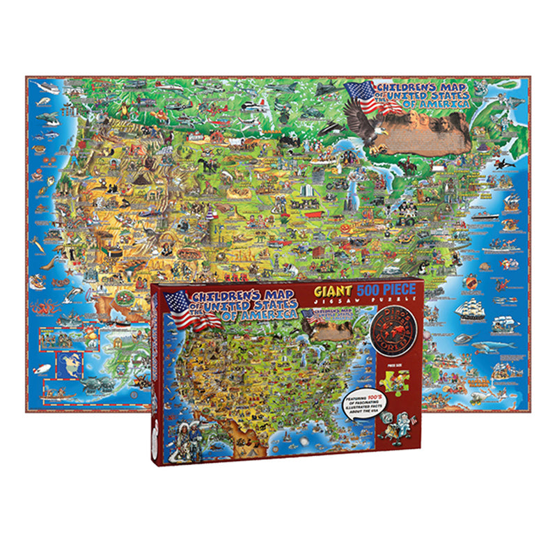 500 Pc Dinos Childrens Us Map Jigsaw Puzzle United States Map - Puzzle-us-map