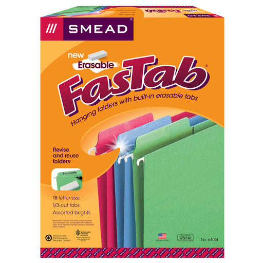 Smead 18ct Asst Colors Erasable Fastab Hanging Folders