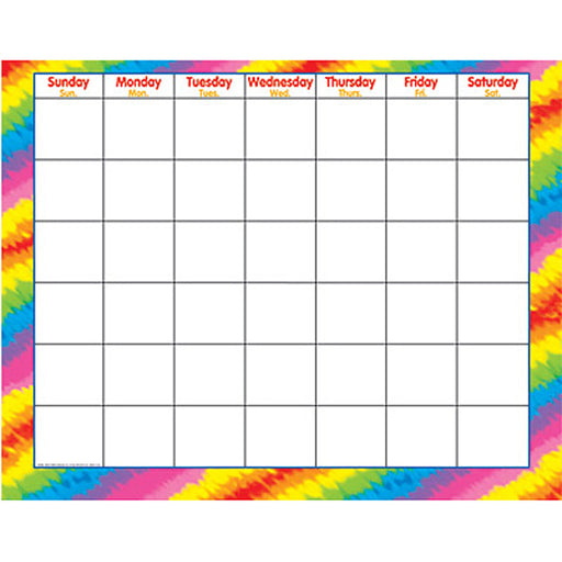 Tie-Dye Wipe-Off Monthly Calendar Grid 22x28