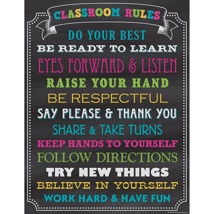 CHALKBOARD BRIGHTS CLASSROOM RULES CHART - Supplies by Teachers