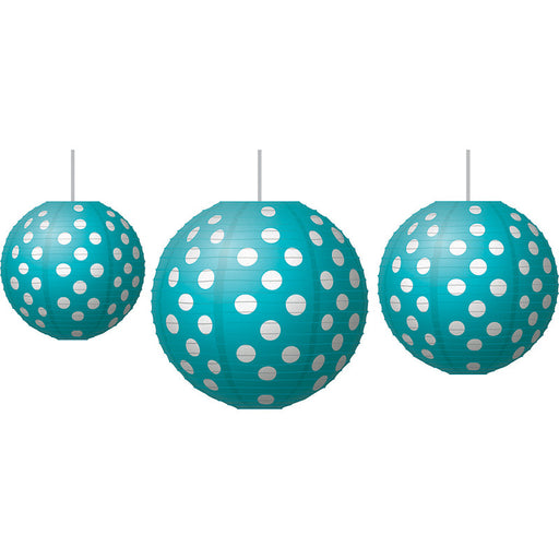 Teal Polka Dot Paper Lanterns - Supplies by Teachers