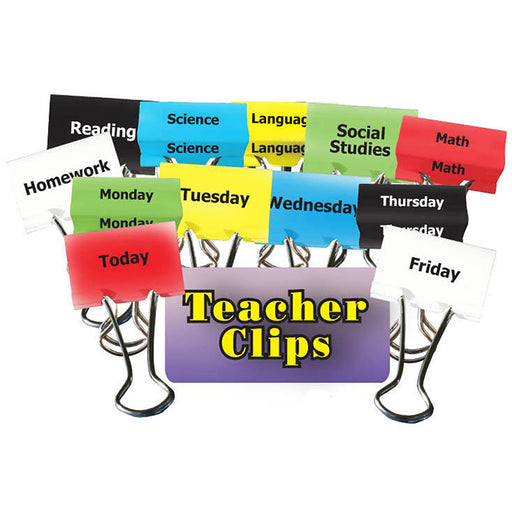 Classes & Days Of Week Teacher Clips 1-1/4in 12pk