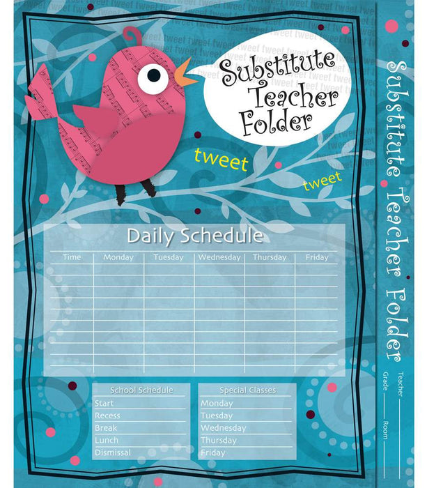 Song Bird Substitute Teacher Folder - Supplies by Teachers
