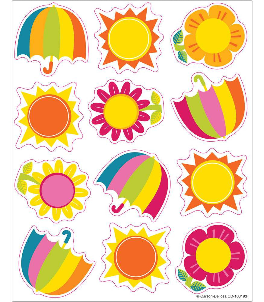 Spring Showers & Sun Shaped Stickers