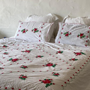 embroidered floral pillow sets