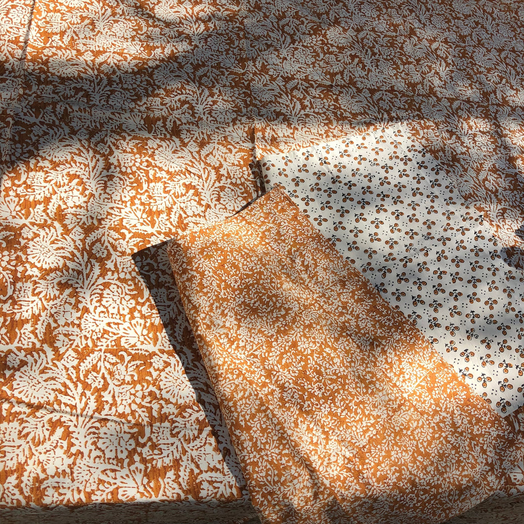 leaf block print cotton tablecloth natural and coffee