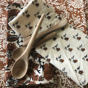 4 x mini rose block print cotton napkin natural and coffee