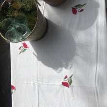 Load image into Gallery viewer, embroidered floral cotton tablecloth CUSTOM ORDER