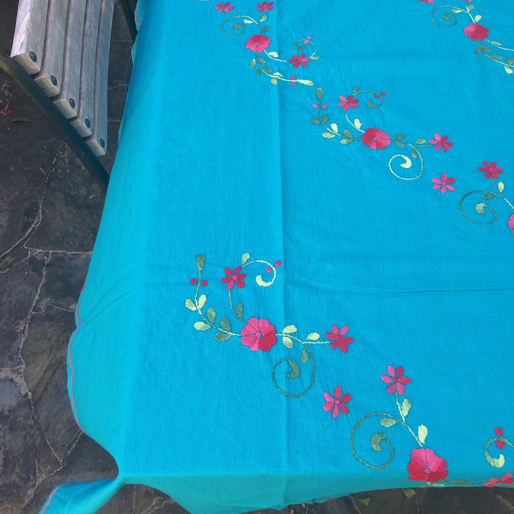 handmade cotton floral tablecloth turquoise with pink embroidery