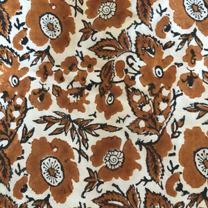 4 x floral block print cotton napkin natural and coffee