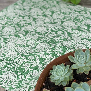 4 x leaf block print cotton napkin natural and green