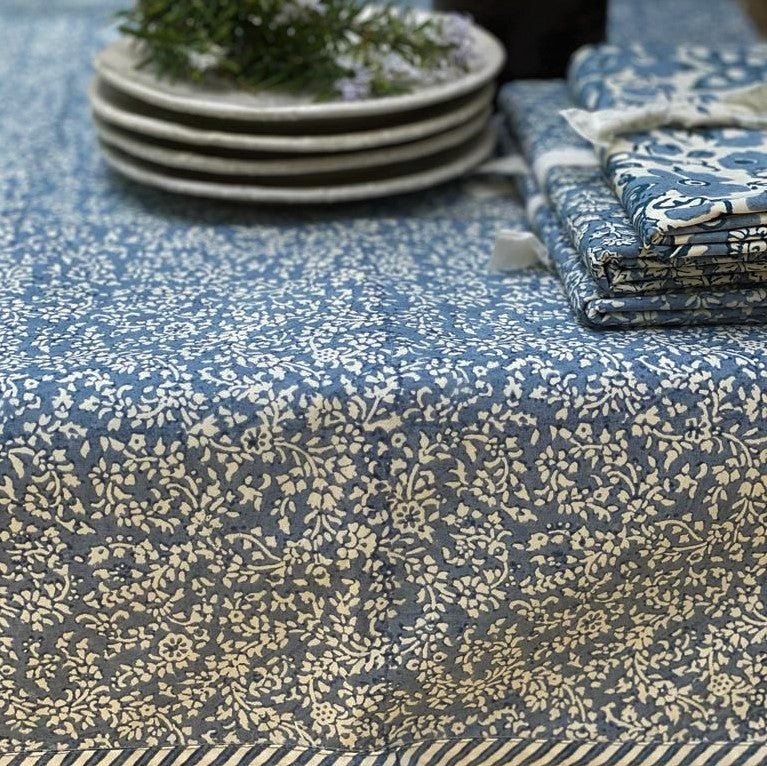 vine block print cotton tablecloth natural and blue