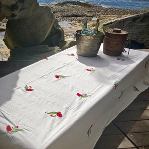 embroidered floral cotton tablecloth CUSTOM ORDER