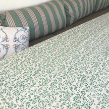 Load image into Gallery viewer, maple block print cotton tablecloth natural and green