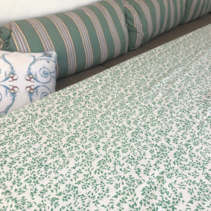 maple block print cotton tablecloth natural and green