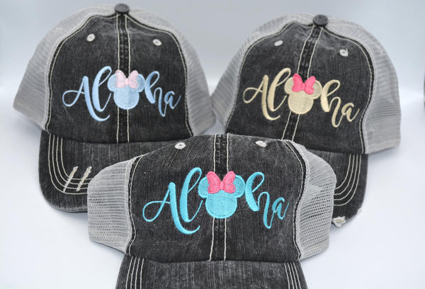 Aloha Mickey / Minnie Mouse Head With Bow Trucker Hat