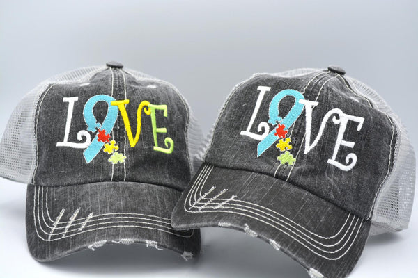Autism Awareness Love Puzzle Ribbon Trucker Hat