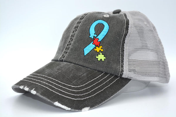 Autism Awareness Puzzle Ribbon Trucker Hat