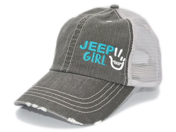 Mini Peace Wave Jeep Girl Trucker Hat