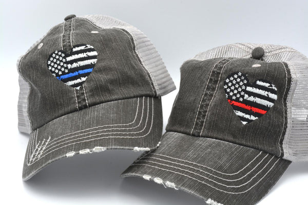 Heart Thin Line US Flag Trucker Hat