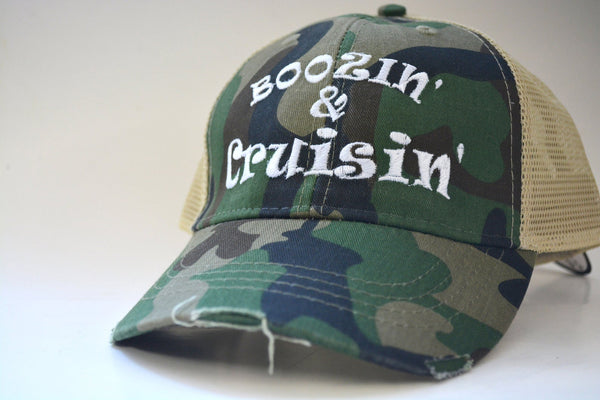 Boozing and Cruising Structured Trucker Hat