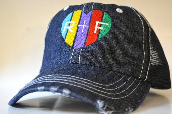Rodan and Fields (R+F) Colored Heart Trucker Hat