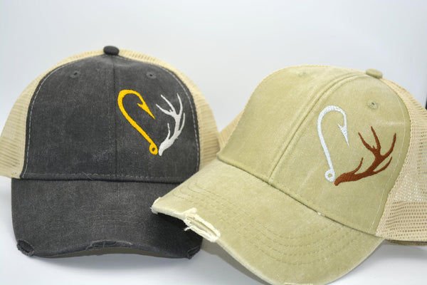 Hunting Fishing Antler and Hook Heart Structured Trucker Hat