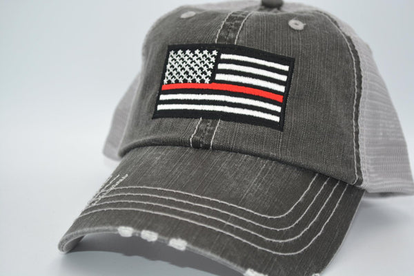 Thin Line US Flag Trucker Hat